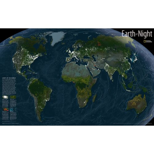 National Geographic Maps Earth at Night Map