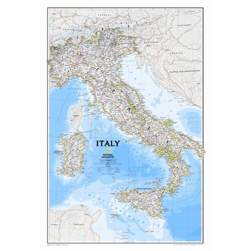 National Geographic Maps Italy Classic Wall Map