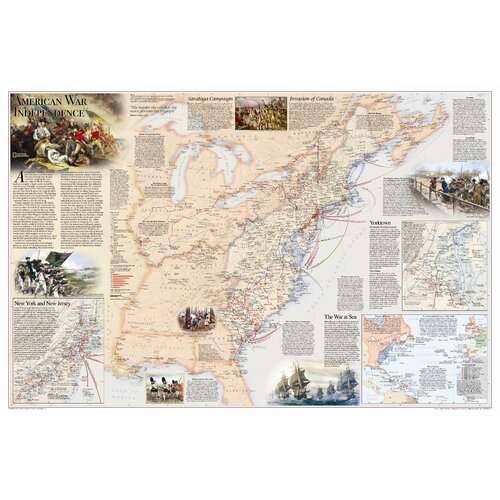 National Geographic Maps Battles of the Revolutionary War & War of 1812 Wall Map (Two Sided)