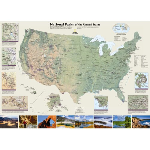 National Geographic Maps United States National Parks Wall Map