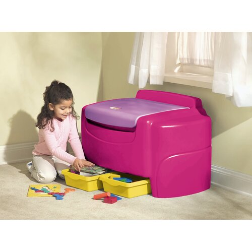 Little tikes pink and white toy box bench 003