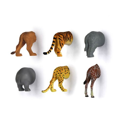 Kikkerland 6 Piece Animal Butt Magnet Set