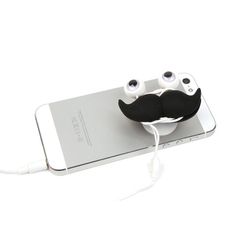 Kikkerland Mustache Earbuds, Stand, and Cord Wrap