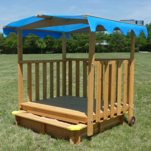 Swing Town Sun n' Shade 4' Rectangular Sandbox with Cover