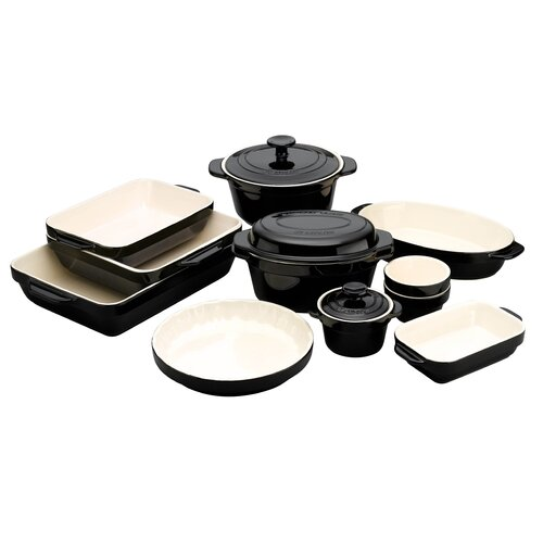 Raymond Blanc Black and Cream Stoneware 24cm Fluted Dish