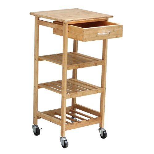 Oceanstar Design Bamboo Kitchen Cart