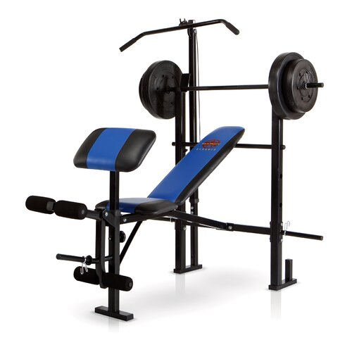 Standard Weight Adjustable Olympic Bench with 120 lb Weight Set