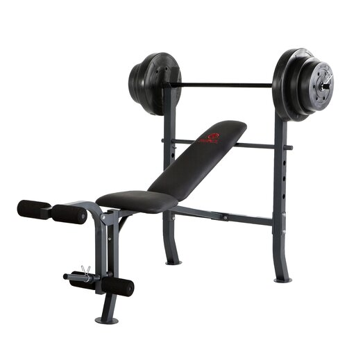Mid-Width Weight Flat / Incline / Decline Olympic Bench with 100 lbs Weight Set