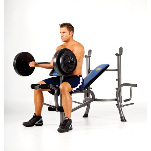 Marcy Standard Weight Adjustable Olympic Bench with 80 lbs Weight Set
