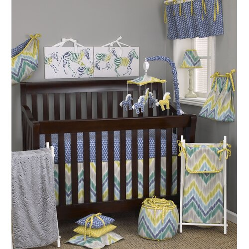 Zebra Romp 7 Piece Crib Bedding Set