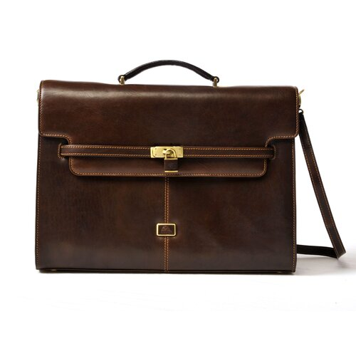 Italico The Roman Modern Double Gusset Leather Laptop Briefcase