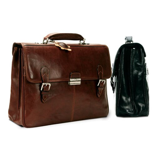 Tony Perotti Green Classic European Leather Briefcase