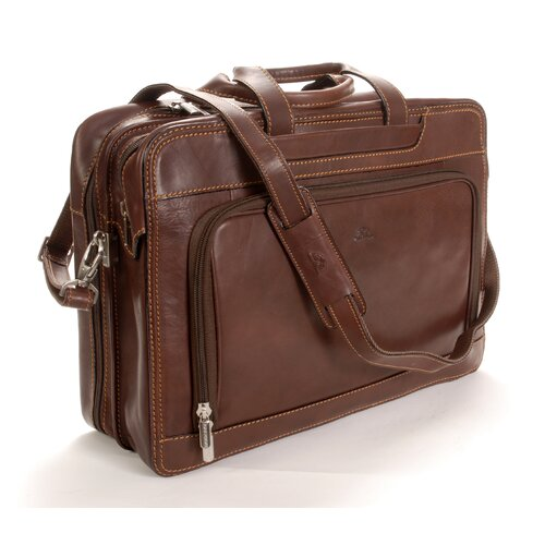 Green Napoli Leather Laptop Briefcase