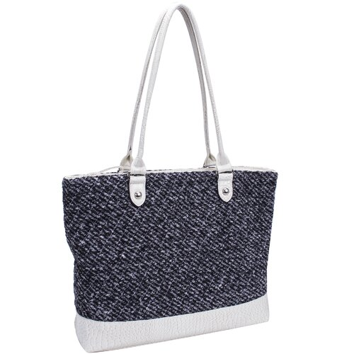 Parinda Allie Quilted Fabric with Croco Faux Leather Tote Bag