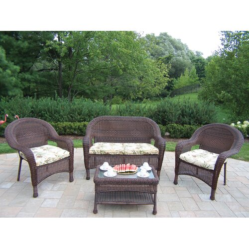 Oakland Living Resin Wicker 4 Piece Lounge Seating Group Set