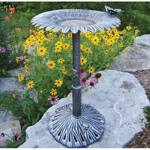 Oakland Living Sunflower Butterfly Bird Bath