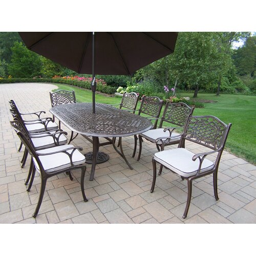 Oakland Living Mississippi Dining Set with Cushions and Umbrella