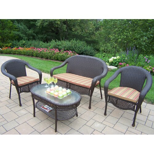 Oakland Living Elite 4 Piece Deep Seating Group Set