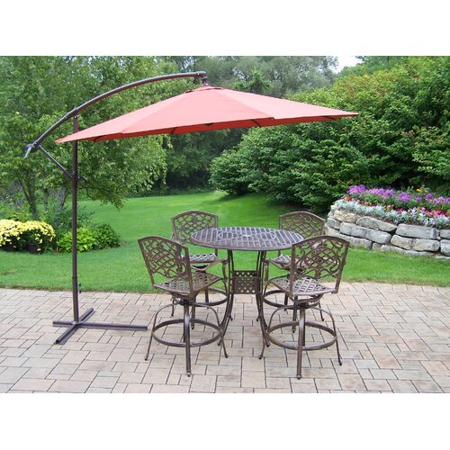 Oakland Living Elite Mississippi Swivel Bar Height Set with Umbrella