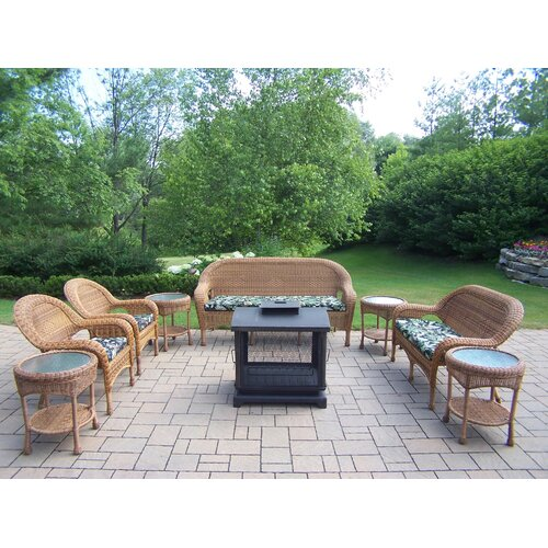 Oakland Living Resin Wicker 9 Piece Lounge Seating Group Set