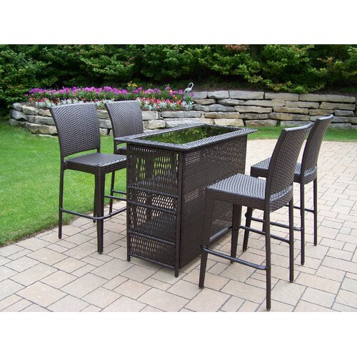 Oakland Living Elite Resin Wicker 5 Piece Bar Set