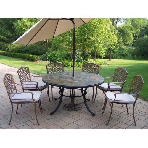 Oakland Living Stone Art Dining Set with Cushions and Umbrella