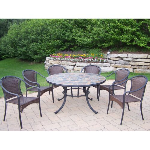 Oakland Living Tuscany Stone Art 7 Piece Dining Set