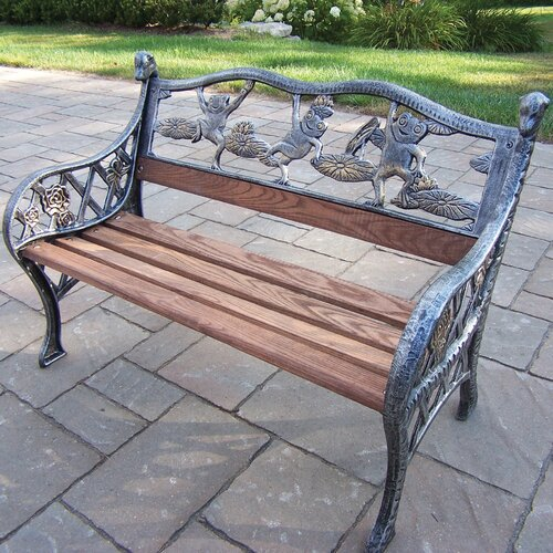 Oakland Living Frog Kiddy Wood And Cast Iron Park Bench Reviews Wayfair