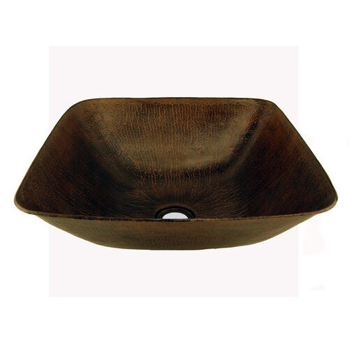 Premier Copper Products Square Vessel Bathroom Sink