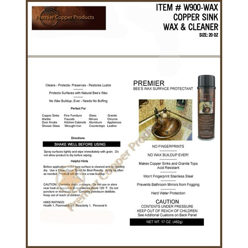 Premier Copper Products Copper Sink Wax and Cleaner