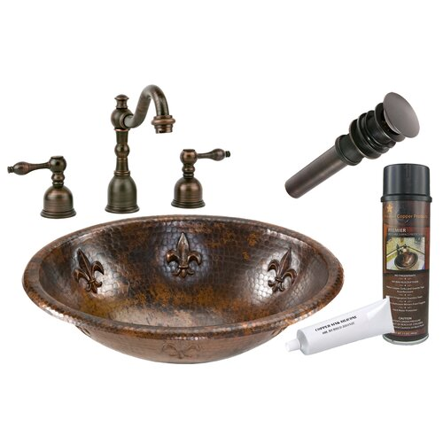 Premier Copper Products Fleur De Lis Self Rimming Hammered Sink