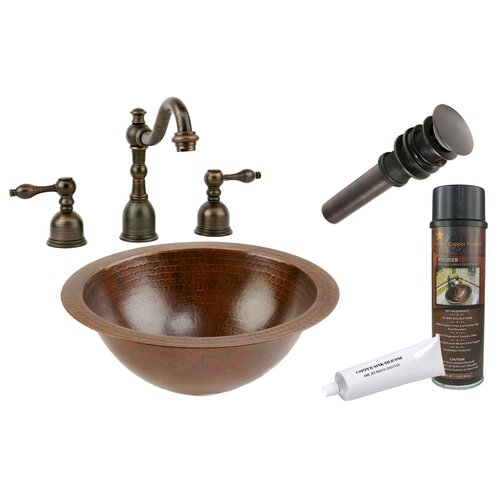 Premier Copper Products Under Counter Hammered Bathroom Sink