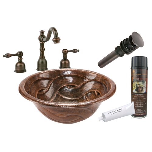 Premier Copper Products Braided Self Rimming Hammered Bathroom Sink