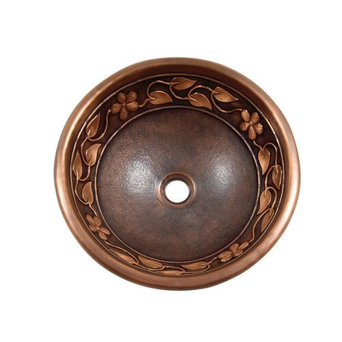 Yosemite Home Decor Flower and Vine Design Topmount Round Vessel Bathroom Sink