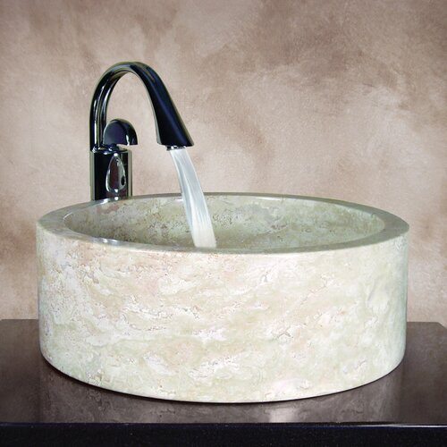 Yosemite Home Decor Kendra Hand Carved Round Vessel Bathroom Sink