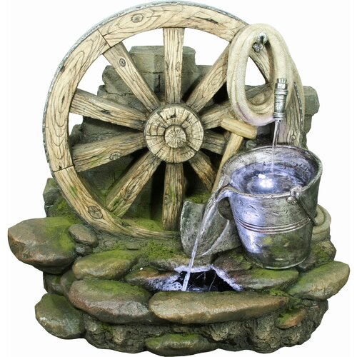 Yosemite Home Decor Wagon Wheel with Bucket Fountain