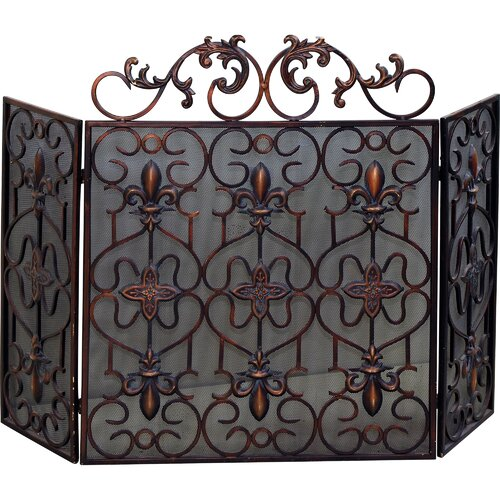 Yosemite Home Decor Decorative 3 Panel Iron Fireplace Screen