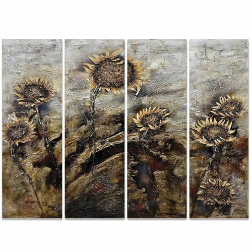 Yosemite Home Decor Revealed Art Sunflowers 4 Piece Original Painting on Canvas Set