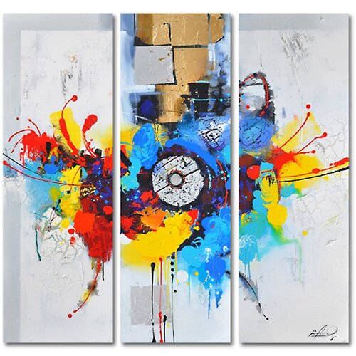Contemporary & Abstract Art Color Me Spring 3 Piece Original Painting on Canvas Set