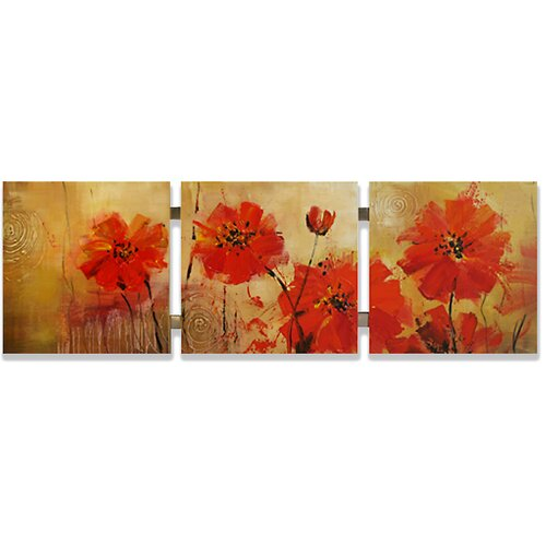 Yosemite Home Decor Contemporary & Abstract Art Red Dandelions Original Painting on Canvas