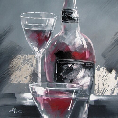 Contemporary & Abstract Art Wine and Two Glasses II Original Painting on Canvas