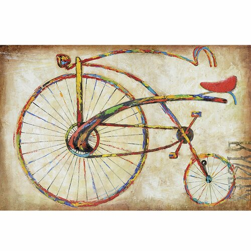 Revealed Art Bicycle Fun I Original Painting on Canvas