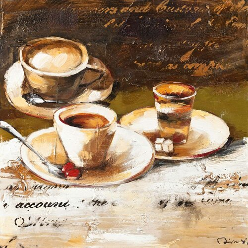 Revealed Art Coffee Cafe I Original Painting on Canvas