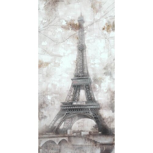 Revealed Artwork Grey Eiffel Original Painting on Canvas