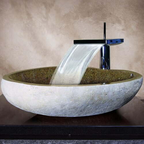 Yosemite Home Decor Hand Carved Boulder Vessel Bathroom Sink