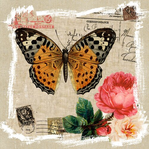 Revealed Artwork Butterfly and Rose I Graphic Art on Canvas
