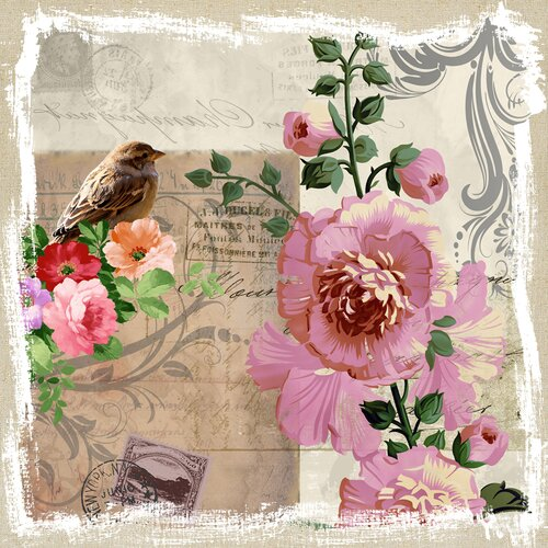 Revealed Artwork Sparrow and Hollyhocks Graphic Art on Canvas