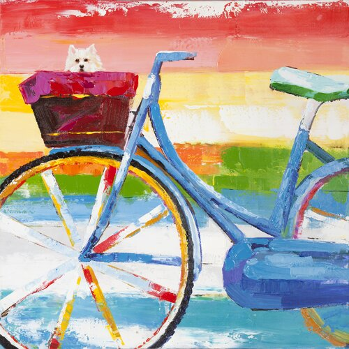 Revealed Artwork Summer Biking Original Painting on Canvas
