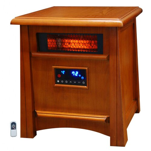 Life Pro Deluxe 8 Element Infrared Heater W/ Air Ionizer System Deluxe All Wood Cabinet ...