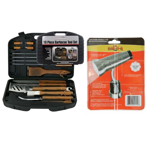 Mr. Bar-B-Q 18 Piece Tool Set Case with Magnetic Grill Light